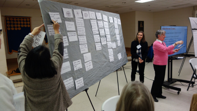 CCC members Beng Lipsey, Garland Mason, and Cathy Grimes facilitate the organization of group priorities in Patrick County (February 2019)